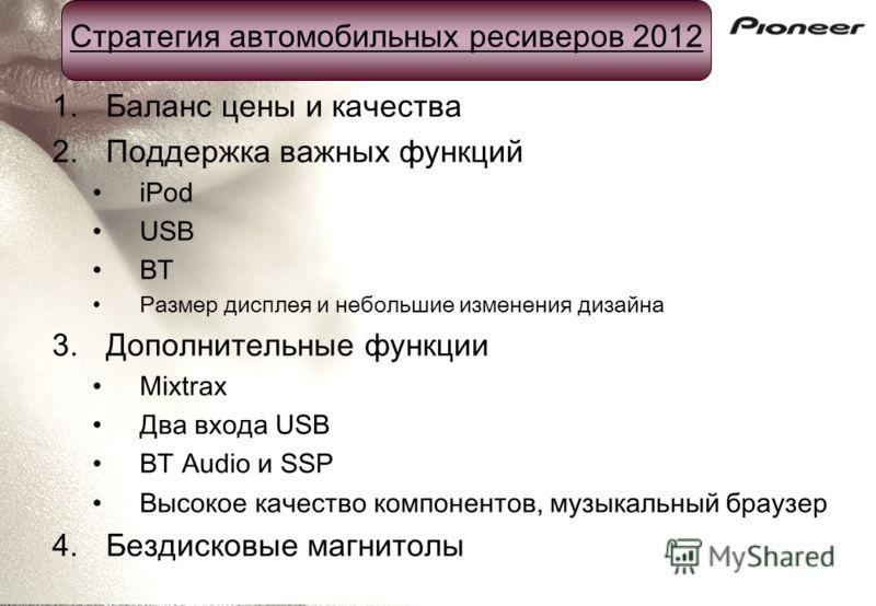 Стратегия автомобильных ресиверов 2012 1.Баланс цены и качества 2.Поддержка важных функций iPod USB BT Размер дисплея и небольшие изменения дизайна 3.Дополнительные функции Mixtrax Два входа USB BT Audio и SSP Высокое качество компонентов, музыкальны