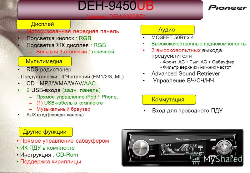 Моторизованная передняя панель Подсветка кнопок : RGB Подсветка ЖК дисплея : RGB –Большой 3-строчный / точечный Дисплей Коммутация Мультимедиа Аудио Другие функции Прямое управление сабвуфером ИК ПДУ в комплекте Инструкция : CD-Rom Поддержка кириллиц