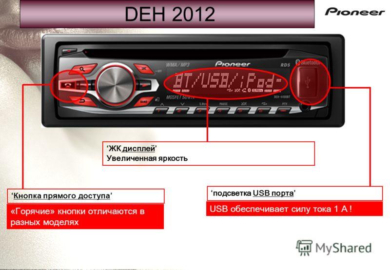 DEH 2012 Кнопка прямого доступа ЖК дисплей Увеличенная яркость подсветка USB порта USB обеспечивает силу тока 1 А ! « Горячие » кнопки отличаются в разных моделях