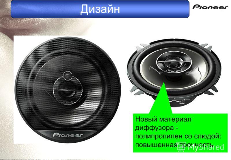 Дизайн Новый материал диффузора - полипропилен со слюдой: повышенная прочность