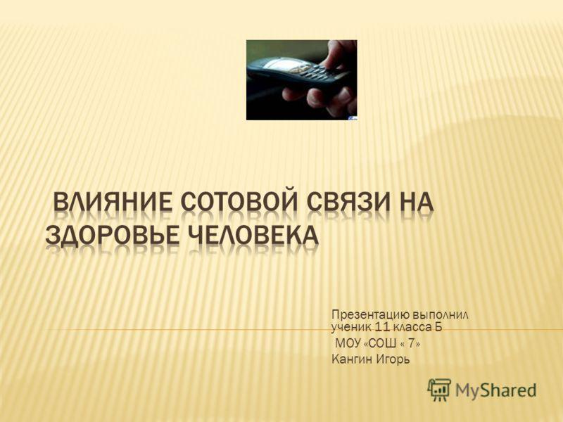 Презентацию выполнил ученик 11 класса Б МОУ «СОШ « 7» Кангин Игорь