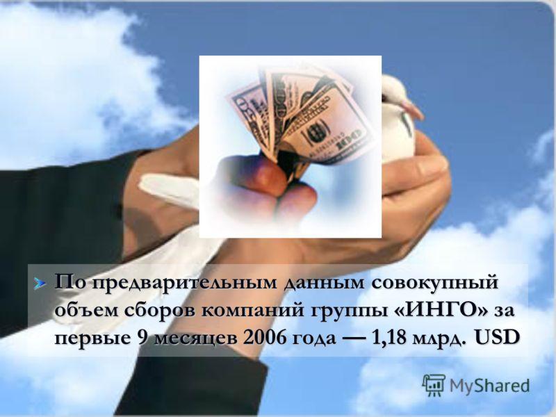 По предварительным данным совокупный объем сборов компаний группы «ИНГО» за первые 9 месяцев 2006 года 1,18 млрд. USD