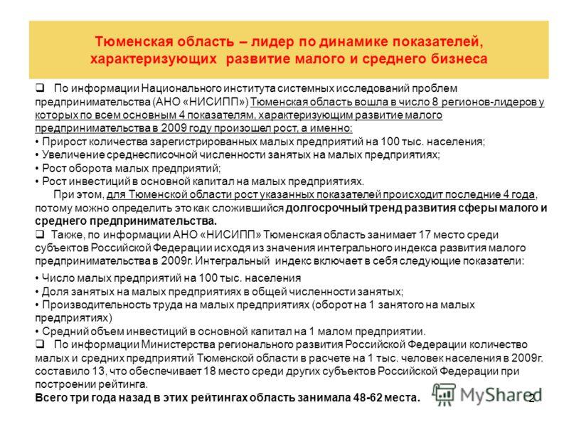 2 Тюменская область – лидер по динамике показателей, характеризующих развитие малого и среднего бизнеса По информации Национального института системных исследований проблем предпринимательства (АНО «НИСИПП») Тюменская область вошла в число 8 регионов