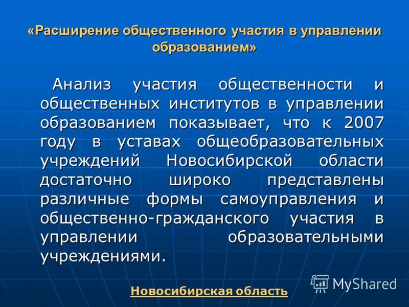 «Расширение общественного участия в управлении образованием» Анализ участия общественности и общественных институтов в управлении образованием показывает, что к 2007 году в уставах общеобразовательных учреждений Новосибирской области достаточно широк