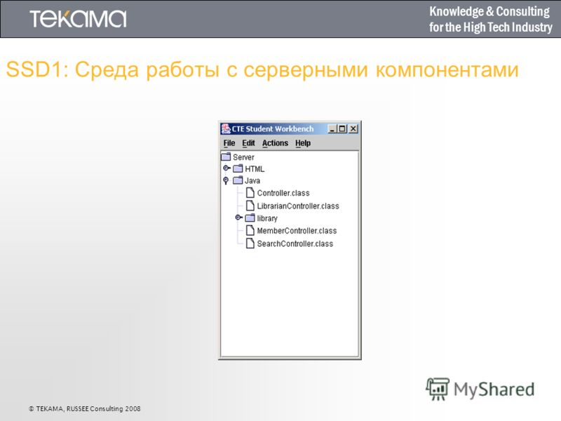 Knowledge & Consulting for the High Tech Industry SSD1: Среда работы с серверными компонентами © TEKAMA, RUSSEE Consulting 2008
