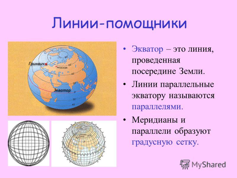 Линии - помощники По всей поверхности Земли на картах и глобусах проведены специальные линии. Линия, соединяющая северный и южный полюса кратчайшим образом, называется меридианом. Меридиан, проходящий через пригород Лондона, городок Гринвич, называют