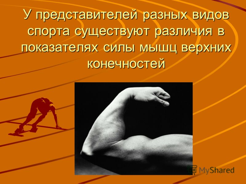 У представителей разных видов спорта существуют различия в показателях силы мышц верхних конечностей