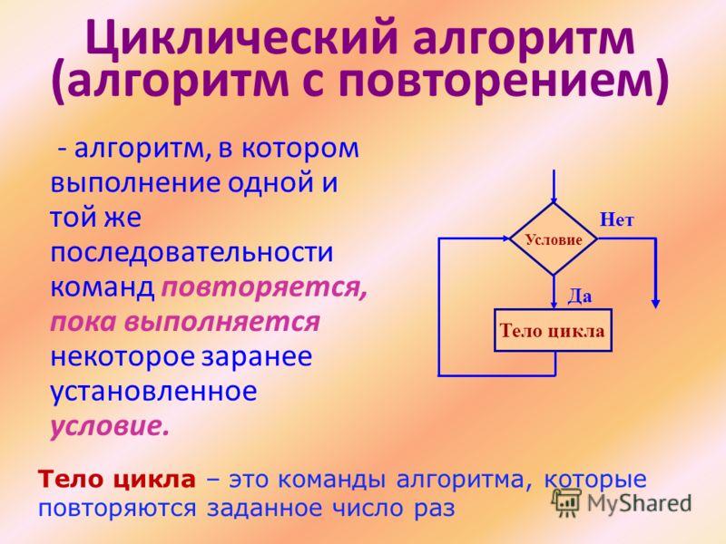 Циклический алгоритм (алгоритм с повторением) - алгоритм, в котором выполнение одной и той же последовательности команд повторяется, пока выполняется некоторое заранее установленное условие. Условие Тело цикла Да Нет Тело цикла – это команды алгоритм