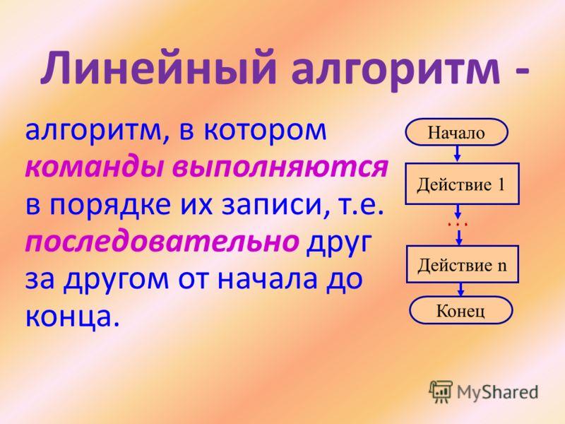 Линейный алгоритм - алгоритм, в котором команды выполняются в порядке их записи, т.е. последовательно друг за другом от начала до конца. Начало Конец Действие 1 Действие n …
