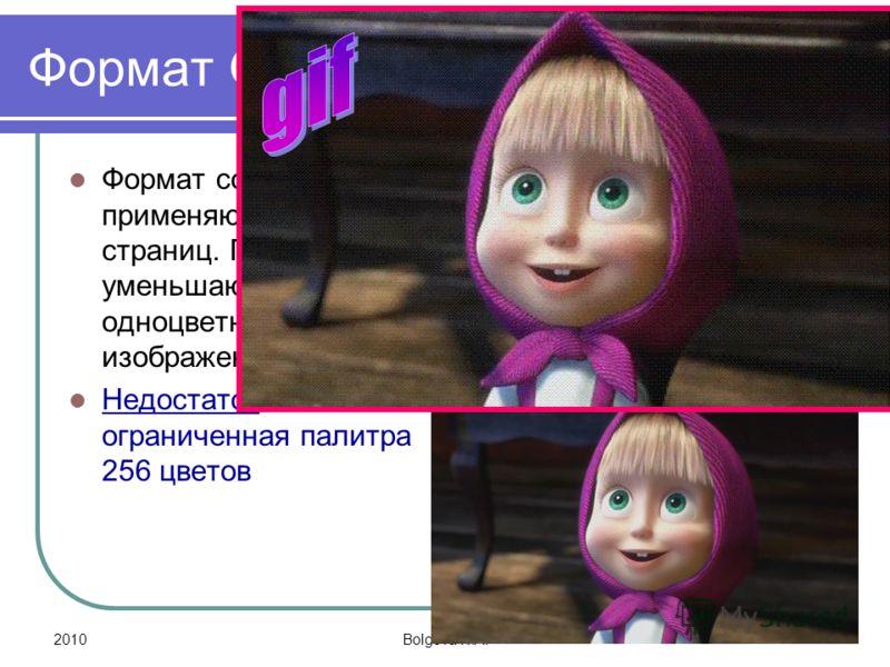 2010Bolgova N.A. 13 Формат GIF Формат со сжатием применяют для Web- страниц. При сжатии уменьшаются одноцветные области изображения. Недостаток- ограниченная палитра 256 цветов