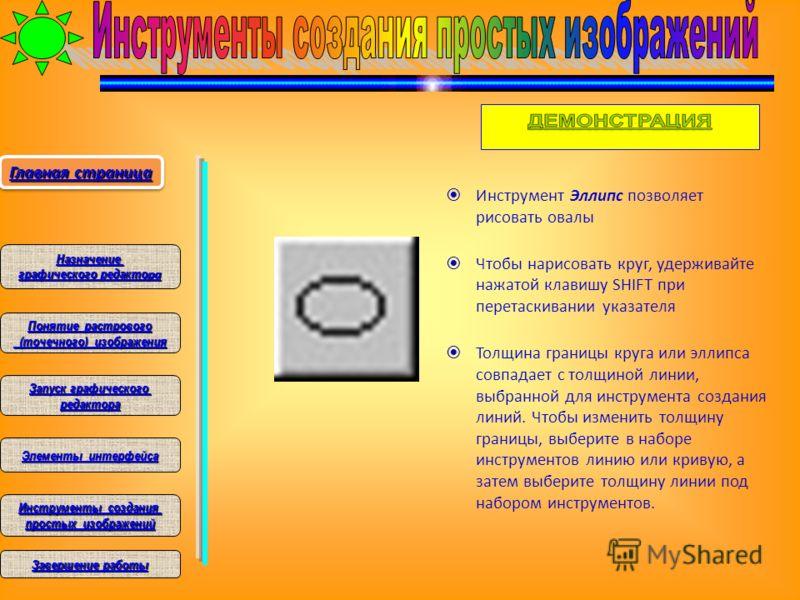 Инструмент Эллипс позволяет рисовать овалы Чтобы нарисовать круг, удерживайте нажатой клавишу SHIFT при перетаскивании указателя Толщина границы круга или эллипса совпадает с толщиной линии, выбранной для инструмента создания линий. Чтобы изменить то