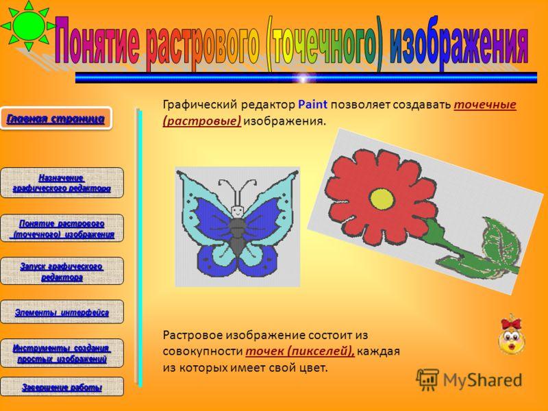 Графический редактор Paint позволяет создавать точечные (растровые) изображения. Растровое изображение состоит из совокупности точек (пикселей), каждая из которых имеет свой цвет. Главная страница Главная страница Главная страница Главная страница На