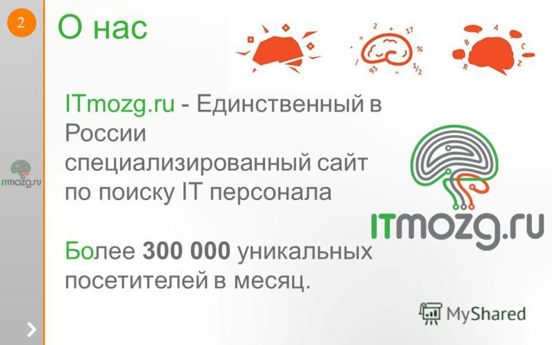 2 О нас ITmozg.ru - Единственный в России специализированный сайт по поиску IT персонала Более 300 000 уникальных посетителей в месяц.
