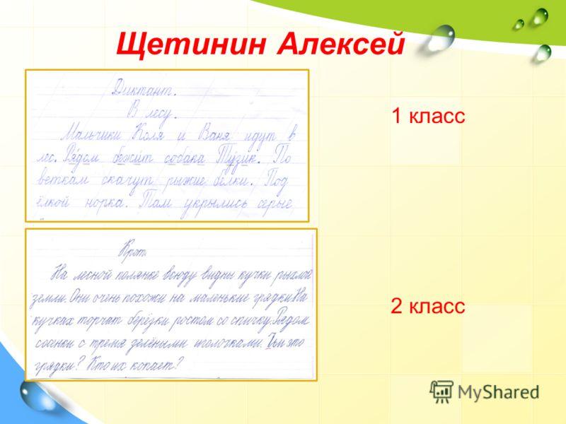 Щетинин Алексей 1 класс 2 класс