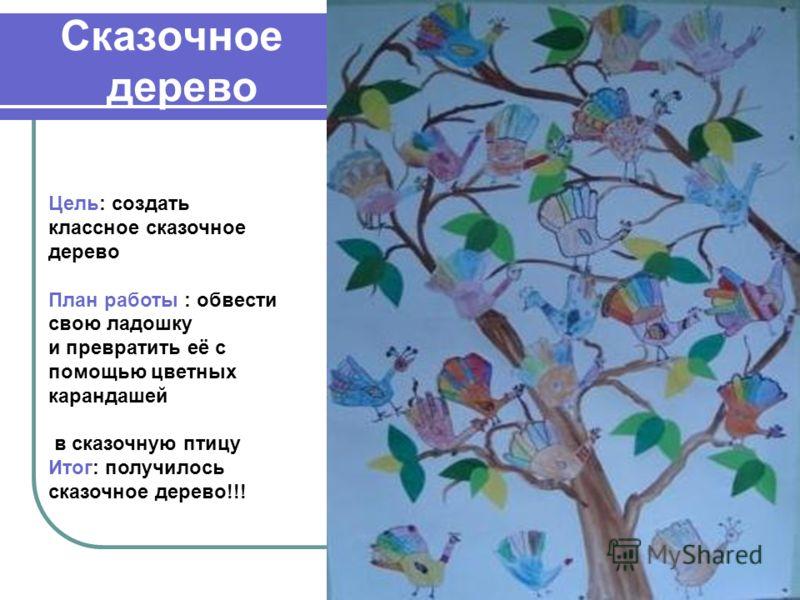 Сказочное дерево Цель: создать классное сказочное дерево План работы : обвести свою ладошку и превратить её с помощью цветных карандашей в сказочную птицу Итог: получилось сказочное дерево!!!