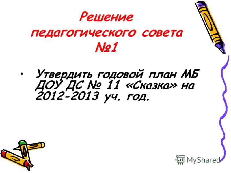 Решение педагогического совета 1 Утвердить годовой план МБ ДОУ ДС 11 «Сказка» на 2012-2013 уч. год.