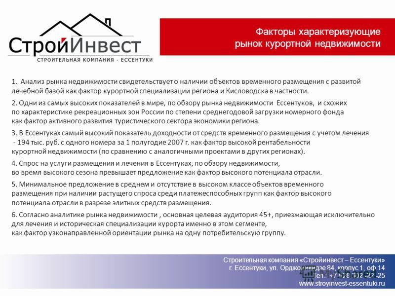 Факторы характеризующие рынок курортной недвижимости 1. Анализ рынка недвижимости свидетельствует о наличии объектов временного размещения с развитой лечебной базой как фактор курортной специализации региона и Кисловодска в частности. 2. Одни из самы