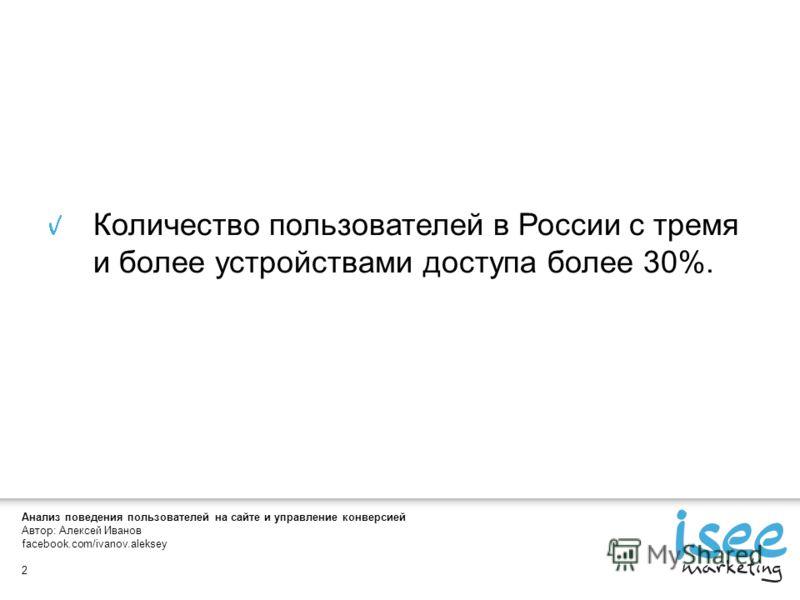 Автор: Алексей Иванов facebook.com/ivanov.aleksey 2 Количество пользователей в России с тремя и более устройствами доступа более 30%.