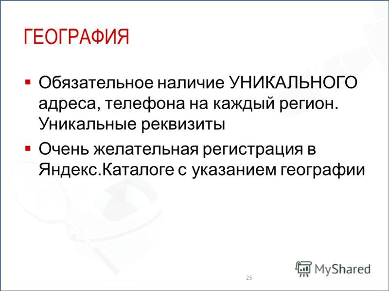 ГЕОГРАФИЯ Обязательное наличие УНИКАЛЬНОГО адреса, телефона на каждый регион. Уникальные реквизиты Очень желательная регистрация в Яндекс.Каталоге с указанием географии 25