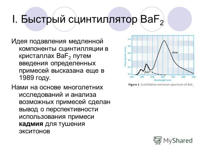 I. Быстрый сцинтиллятор BaF 2 Идея подавления медленной компоненты сцинтилляции в кристаллах BaF 2 путем введения определенных примесей высказана еще в 1989 году. Нами на основе многолетних исследований и анализа возможных примесей сделан вывод о пер