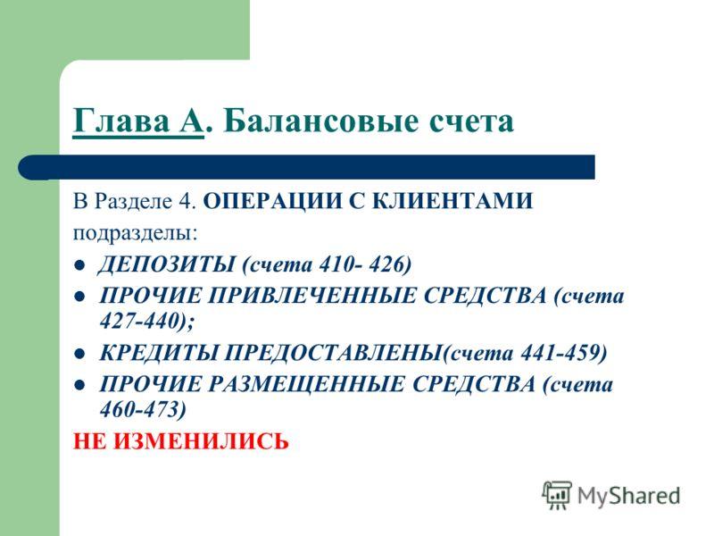 Глава А. Балансовые счета В Разделе 4. ОПЕРАЦИИ С КЛИЕНТАМИ подразделы: ДЕПОЗИТЫ (счета 410- 426) ПРОЧИЕ ПРИВЛЕЧЕННЫЕ СРЕДСТВА (счета 427-440); КРЕДИТЫ ПРЕДОСТАВЛЕНЫ(счета 441-459) ПРОЧИЕ РАЗМЕЩЕННЫЕ СРЕДСТВА (счета 460-473) НЕ ИЗМЕНИЛИСЬ