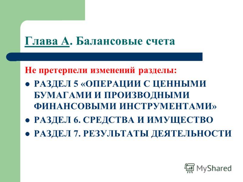 Не претерпели изменений разделы: РАЗДЕЛ 5 «ОПЕРАЦИИ С ЦЕННЫМИ БУМАГАМИ И ПРОИЗВОДНЫМИ ФИНАНСОВЫМИ ИНСТРУМЕНТАМИ» РАЗДЕЛ 6. СРЕДСТВА И ИМУЩЕСТВО РАЗДЕЛ 7. РЕЗУЛЬТАТЫ ДЕЯТЕЛЬНОСТИ