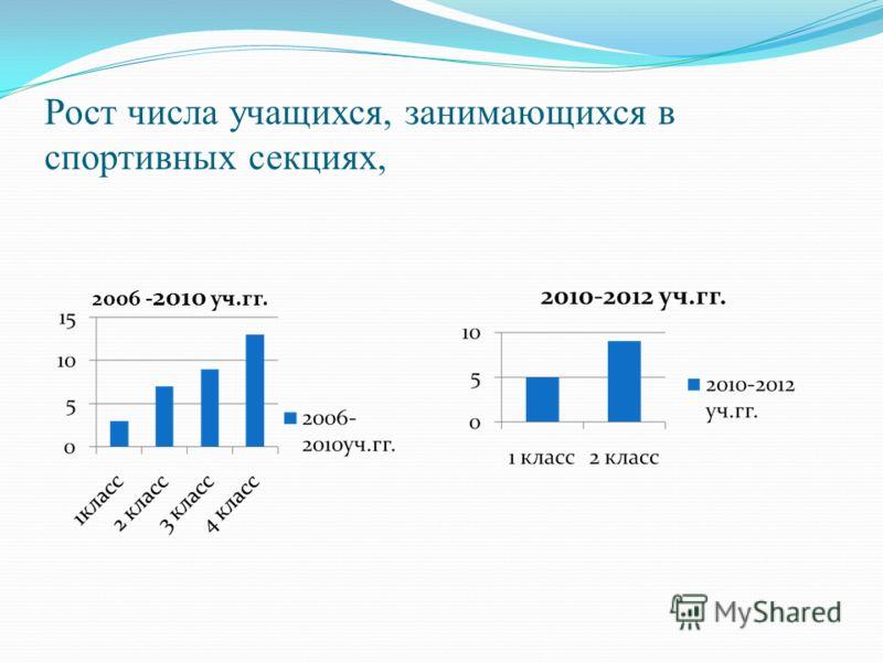 Рост числа учащихся, занимающихся в спортивных секциях, 2006 - 2010 уч.гг.