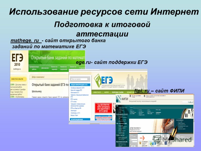 Подготовка к итоговой аттестации Использование ресурсов сети Интернет fipi. ru – сайт ФИПИ mathege. ru - сайт открытого банка заданий по математике ЕГЭ ege.ru- сайт поддержки ЕГЭ