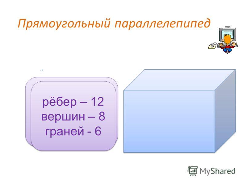 Прямоугольный параллелепипед рёбер – 12 вершин – 8 граней - 6 рёбер – 12 вершин – 8 граней - 6 рёбер – 12 вершин – 8 граней - 6 рёбер – 12 вершин – 8 граней - 6