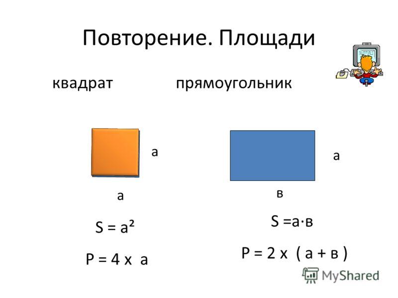 Повторение. Площади квадрат прямоугольник а а в S = а² Р = 4 х а S =а·в Р = 2 х ( а + в ) а