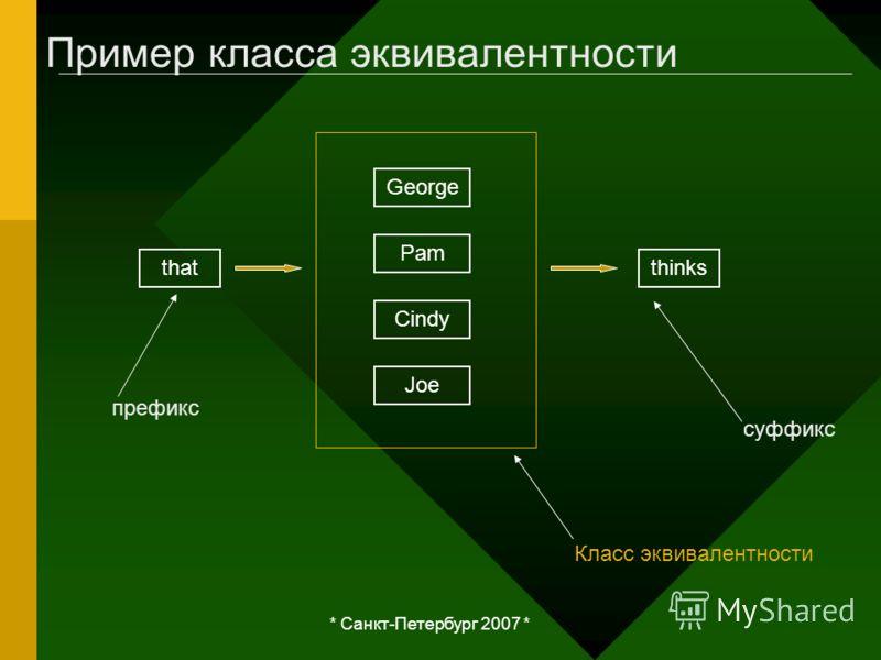 * Санкт-Петербург 2007 * Пример класса эквивалентности thatthinks George Pam Cindy Joe Класс эквивалентности суффикс префикс