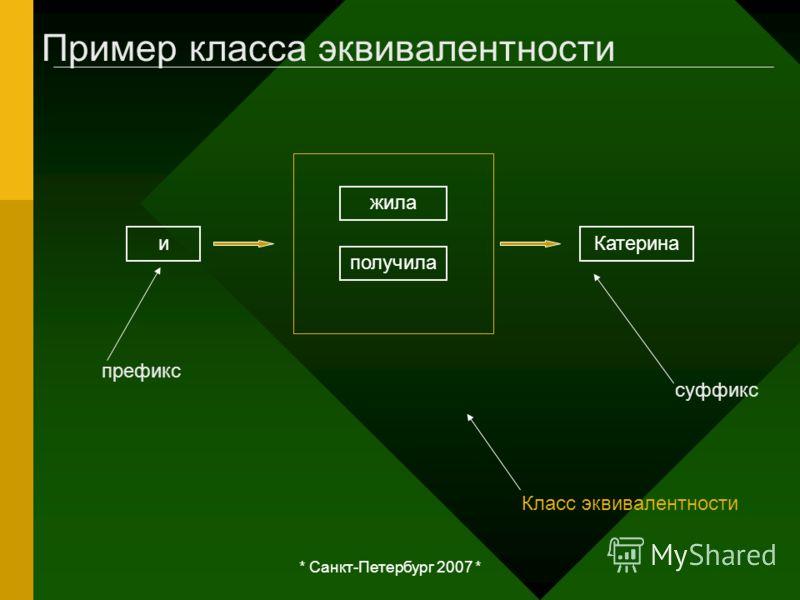 * Санкт-Петербург 2007 * Пример класса эквивалентности иКатерина жила получила Класс эквивалентности суффикс префикс