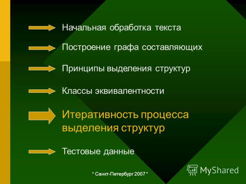 * Санкт-Петербург 2007 * Начальная обработка текста Построение графа составляющих Принципы выделения структур Классы эквивалентности Итеративность процесса выделения структур Тестовые данные