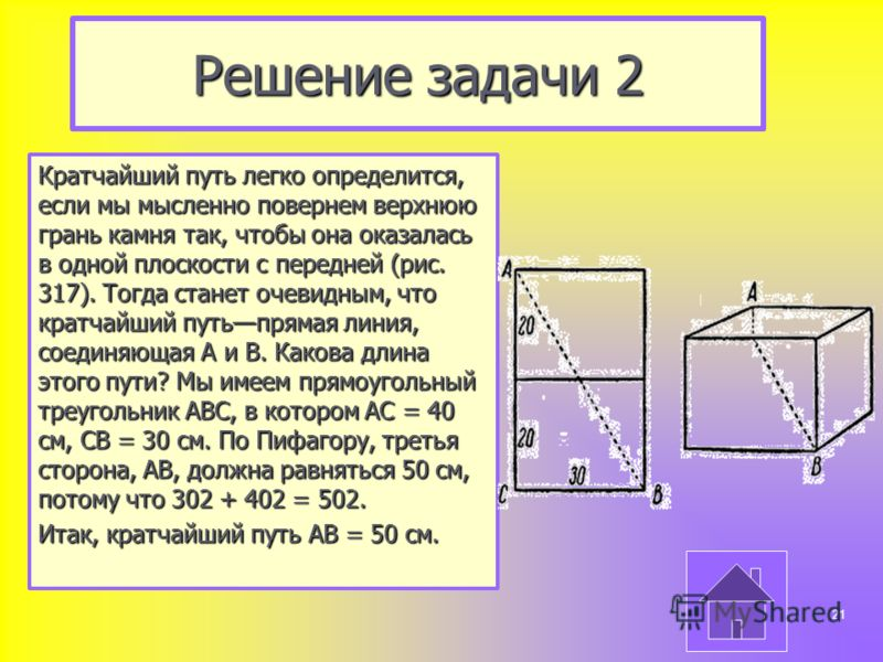 Решение задачи 2 Кратчайший путь легко определится, если мы мысленно повернем верхнюю грань камня так, чтобы она оказалась в одной плоскости с передней (рис. 317). Тогда станет очевидным, что кратчайший путьпрямая линия, соединяющая А и В. Какова дли