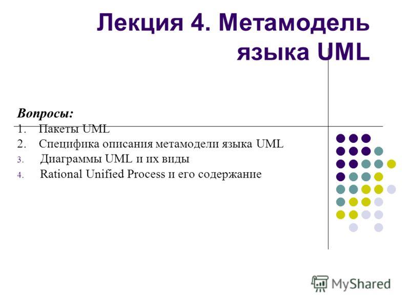 Лекция 4. Метамодель языка UML Вопросы: 1. Пакеты UML 2. Специфика описания метамодели языка UML 3. Диаграммы UML и их виды 4. Rational Unified Process и его содержание
