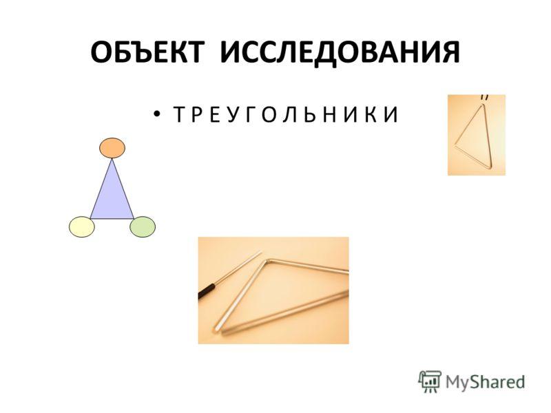 ОБЪЕКТ ИССЛЕДОВАНИЯ Т Р Е У Г О Л Ь Н И К И