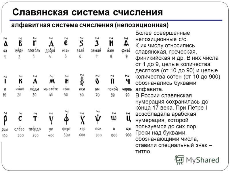 Славянская система счисления алфавитная система счисления (непозиционная) Более совершенные непозиционные с/с. К их числу относились славянская, греческая, финикийская и др. В них числа от 1 до 9, целые количества десятков (от 10 до 90) и целые колич