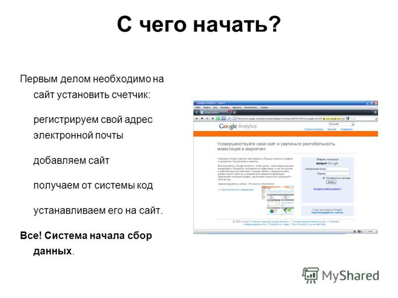 С чего начать? Первым делом необходимо на сайт установить счетчик: регистрируем свой адрес электронной почты добавляем сайт получаем от системы код устанавливаем его на сайт. Все! Система начала сбор данных.