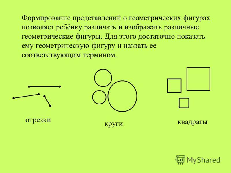 Формирование представлений о геометрических фигурах позволяет ребёнку различать и изображать различные геометрические фигуры. Для этого достаточно показать ему геометрическую фигуру и назвать ее соответствующим термином. отрезки круги квадраты