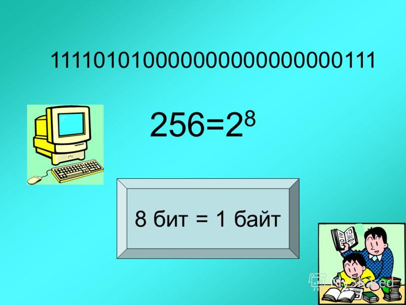 111101010000000000000000111 256=2 8 8 бит = 1 байт