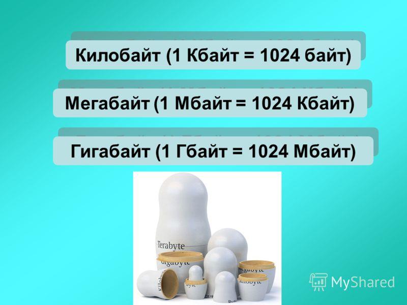 Мегабайт (1 Мбайт = 1024 Кбайт) Килобайт (1 Кбайт = 1024 байт) Гигабайт (1 Гбайт = 1024 Мбайт)