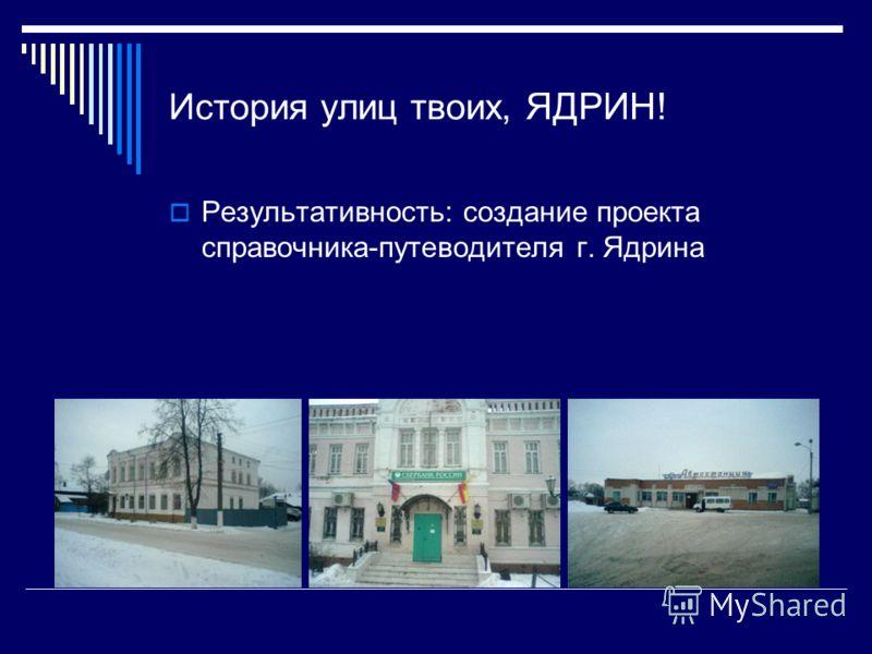 История улиц твоих, ЯДРИН! Результативность: создание проекта справочника-путеводителя г. Ядрина