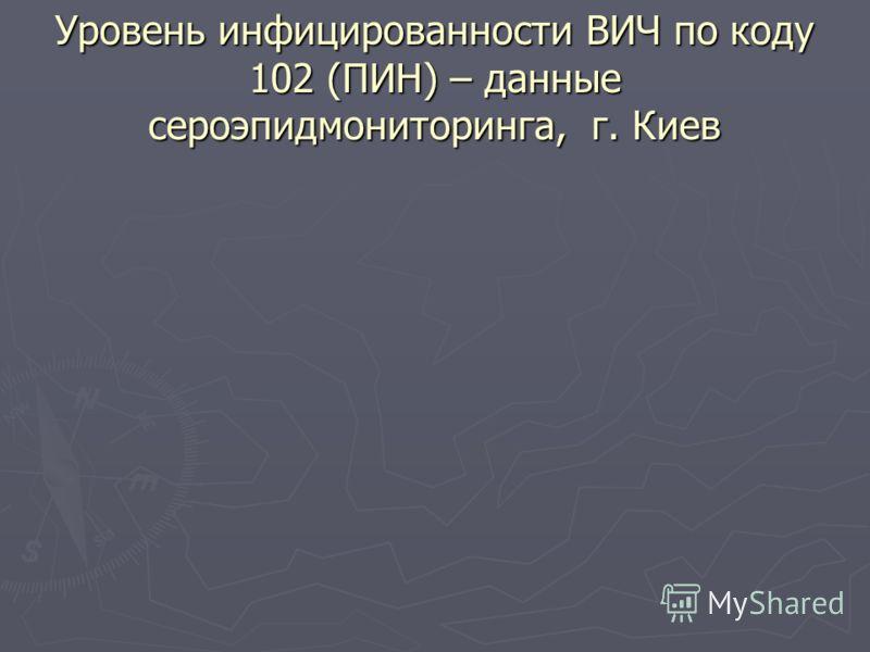Уровень инфицированности ВИЧ по коду 102 (ПИН) – данные сероэпидмониторинга, г. Киев
