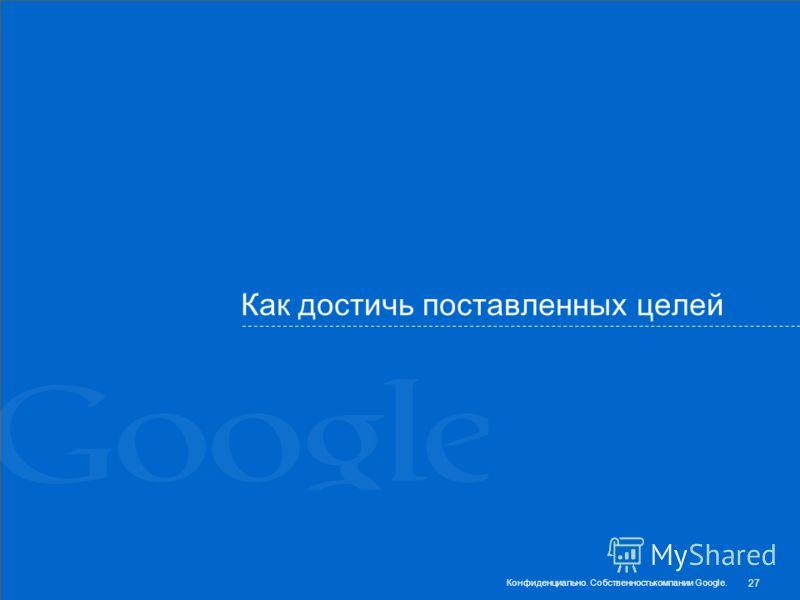 Как достичь поставленных целей 27 Конфиденциально. Собственностькомпании Google.