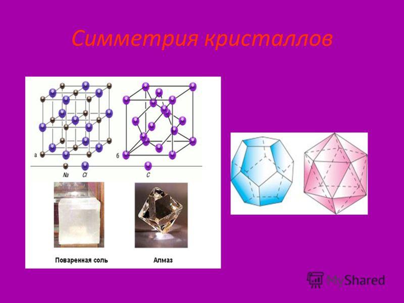 Симметрия в химии СИММЕТРИЯ в химии проявляется в геометрической конфигурации молекул, что сказывается на специфике физических и химических свойств молекул в изолированном состоянии, во внешнем поле и при взаимодействии с другими атомами и молекулами