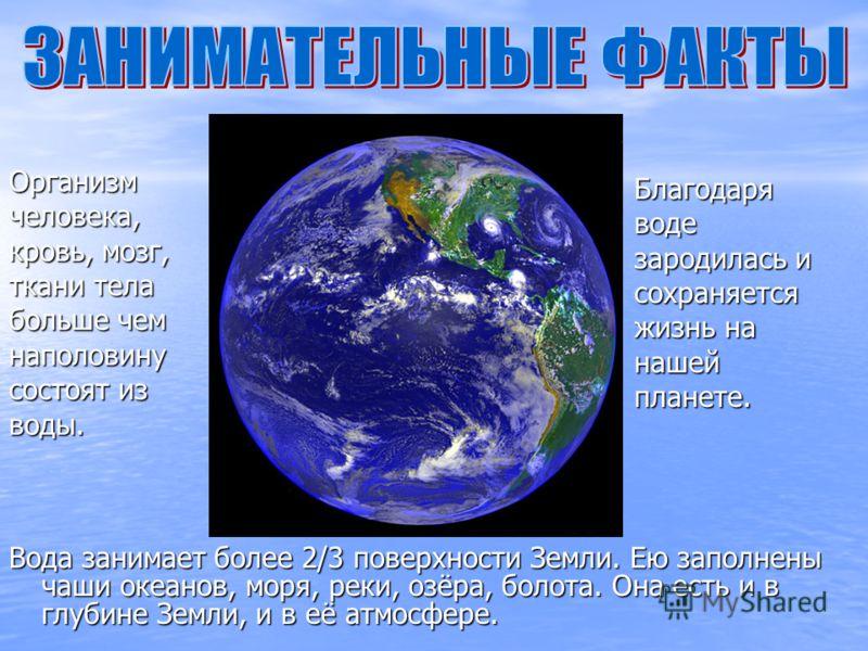 Вода занимает более 2/3 поверхности Земли. Ею заполнены чаши океанов, моря, реки, озёра, болота. Она есть и в глубине Земли, и в её атмосфере. Организм человека, кровь, мозг, ткани тела больше чем наполовину состоят из воды. Благодаря воде зародилась