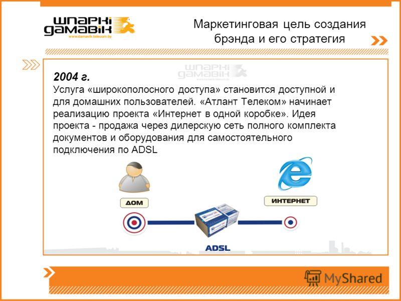 Маркетинговая цель создания брэнда и его стратегия 2004 г. Услуга «широкополосного доступа» становится доступной и для домашних пользователей. «Атлант Телеком» начинает реализацию проекта «Интернет в одной коробке». Идея проекта - продажа через дилер