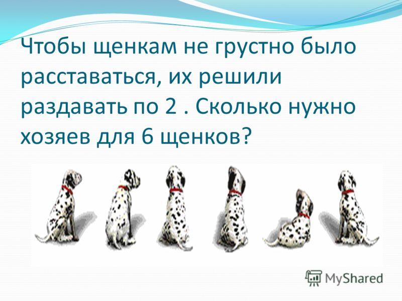 Чтобы щенкам не грустно было расставаться, их решили раздавать по 2. Сколько нужно хозяев для 6 щенков?