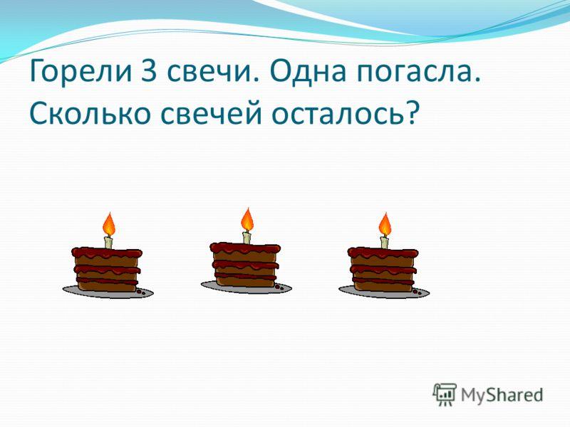 Горели 3 свечи. Одна погасла. Сколько свечей осталось?