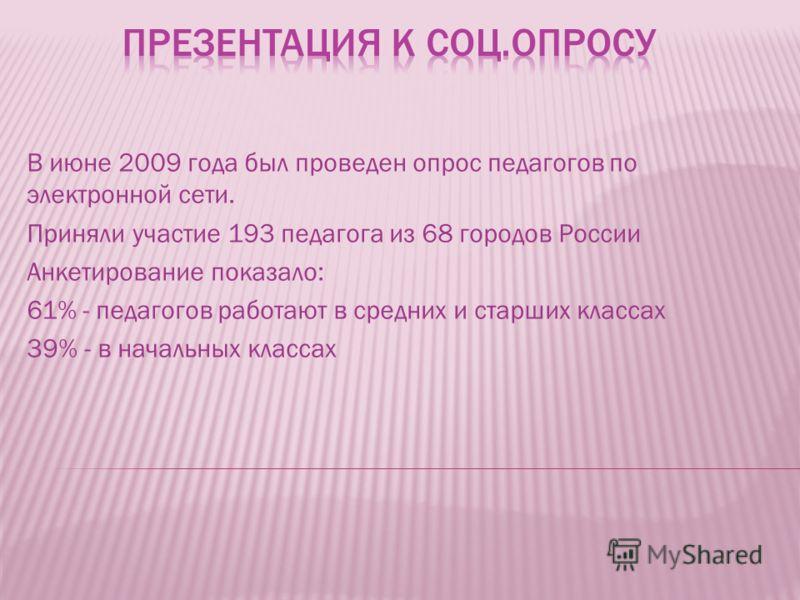 В июне 2009 года был проведен опрос педагогов по электронной сети. Приняли участие 193 педагога из 68 городов России Анкетирование показало: 61% - педагогов работают в средних и старших классах 39% - в начальных классах